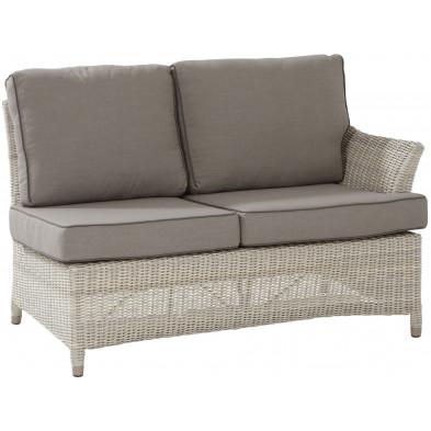 Canapé de jardin 2 places avec accoudoir gauche en résine tressée coloris beige  L. 86 x P. 50 x H. 81 cm collection Sai