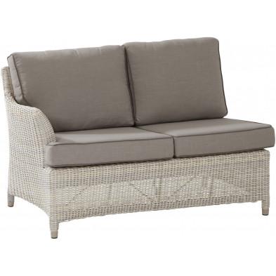 Canapé de jardin 2 places avec accoudoir droit en résine tressée coloris beige L. 86 x P. 50 x H. 81 cm collection Sai
