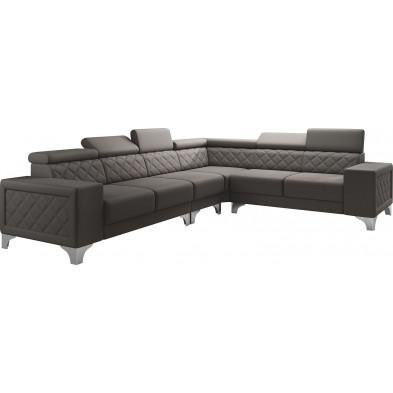 Canapés d'angle marron réversible moderne en pvc 6 places L. 325-260 x P. 96 x H. 87-107 cm collection LUGANO