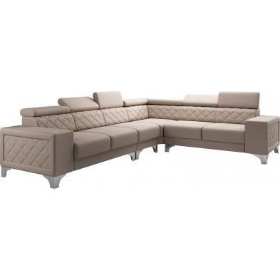 Canapés d'angle réversible  beige moderne en pvc 6 places L. 325-260 x P. 96 x H. 87-107 cm collection LUGANO