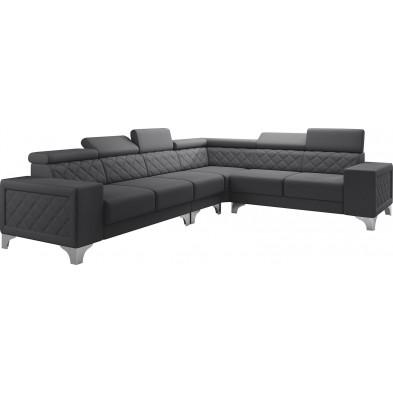 Canapés d'angle gris réversible  moderne en pvc 6 places L. 325-260 x P. 96 x H. 87-107 cm collection LUGANO