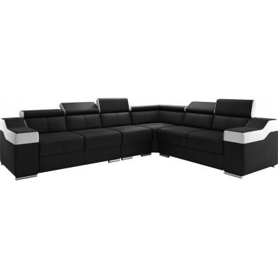 Canapés d'angle réversible noir design en pvc 6 places L. 325-260 x P. 96 x H. 82-102 cm collection MIAMI