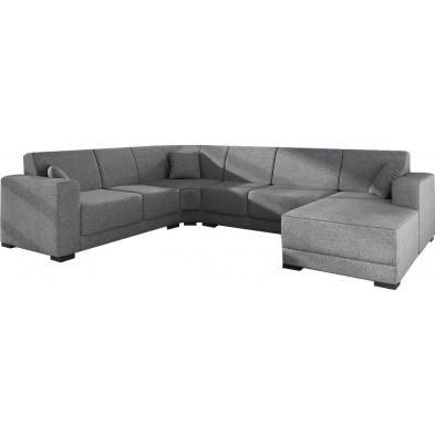 Canapés d'angle gris moderne en tissu 6 places L. 270-336-160 x P. 81-84 x H. 78 cm collection ASTRA