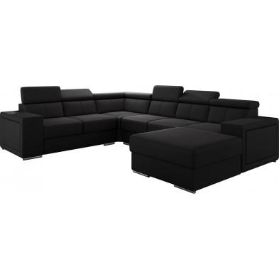 Canapés d'angle noir moderne en pvc 6 places L. 260-325-180 x P. 94-96 x H. 67-100 cm collection SANDRA