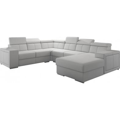 Canapés d'angle blanc moderne en pvc 6 places L. 260-325-180 x P. 94-96 x H. 67-100 cm collection SANDRA