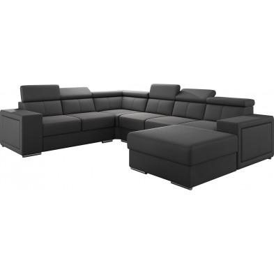 Canapés d'angle gris moderne en pvc 6 places L. 260-325-180 x P. 94-96 x H. 67-100 cm collection SANDRA