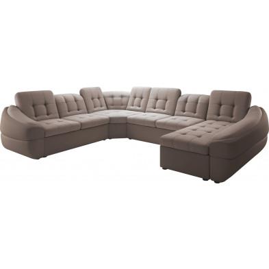 Canapés d'angle beige design en polyester angle droite 6 places L. 327-264-190 x P. 100-110 x H. 79-87 cm DIVANIAnnelotte