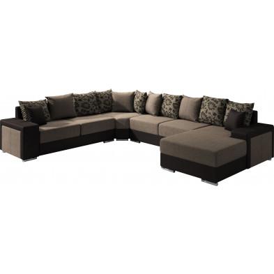 Canapés d'angle marron moderne en polyester 6 places L. 175-355-280 x P. 91-104 x H. 75 cm collection NOUMA