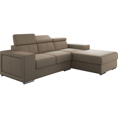 Canapés d'angle beige moderne en pvc 3 places L. 255-180 x P. 94-96 x H. 67-100 cm collection SANDRA