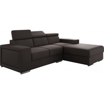 Canapés d'angle marron moderne en pvc 3 places L. 255-180 x P. 94-96 x H. 67-100 cm collection SANDRA
