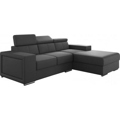 Canapés d'angle gris moderne en pvc 3 places L. 255-180 x P. 94-96 x H. 67-100 cm collection SANDRA