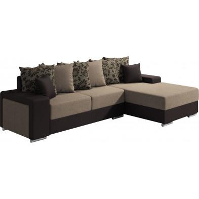 Canapés d'angle marron moderne en bois massif 3 places L. 270-175 x P. 91-104 x H. 75 cm collection NOUMA