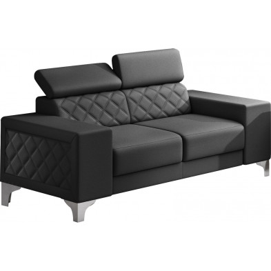 Canapés fixes noir moderne en pvc 2 places L. 194 x P. 96 x H. 67-100 cm collection LUGANO