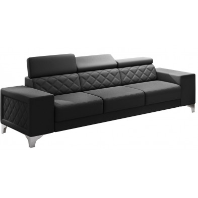 Canapés fixes noir moderne en pvc 3 places L. 253 x P. 96 x H. 67-100 cm collection LUGANO