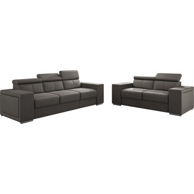 Ensemble canapés marron moderne en pvc canapé fixe polyester 5 places L. 253 - 190 x P. 96 x H. 67-100 cm collection SANDRA