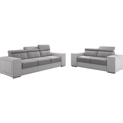 Ensemble canapés blanc moderne en acier 5 places L. 253 - 190 x P. 96 x H. 67-100 cm collection SANDRA