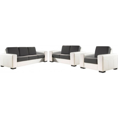 Ensemble canapés blanc contemporain en acier 6 places L. 230-170-105 x P. 93 x H. 84 cm collection ROTTERDAM