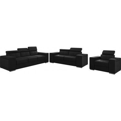 Ensemble canapés noir moderne en pvc 6 places L. 253 - 190 -127 x P. 96 x H. 67-100 cm collection SANDRA