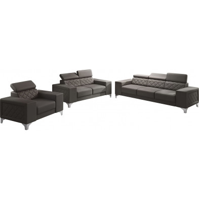 Ensemble canapés marron moderne en pvc  6 places L. 259 - 194 -129 x P. 94 x H. 67-100 cm collection LUGANO