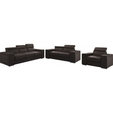 Ensemble canapés marron moderne en pvc 6 places L. 253 - 190 -127 x P. 96 x H. 67-100 cm collection SANDRA