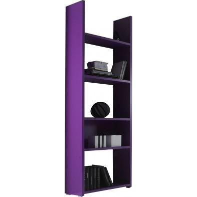 Bibliothèque violet design en panneaux de particules mélaminés de haute qualité L. 56 x P. 29 x H. 184 cm collection Mollie