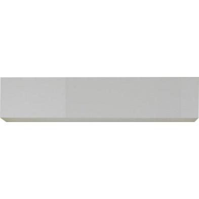Meuble horizontal suspendu design blanc en panneaux de particules mélaminés L. 139 x P. 31 x H. 29 cm Collection Mollie