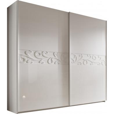 Armoire porte coulissante blanc design L. 280 x P. 53 x H. 210 cm collection Romsee