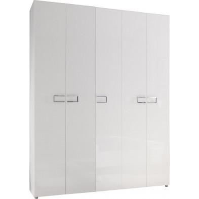 Armoire adulte blanc design L. 198 x P. 53 x H. 212 cm collection Oskar