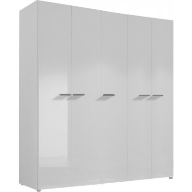 Armoire adulte blanc design L. 158 x P. 53 x H. 214 cm collection Houkes