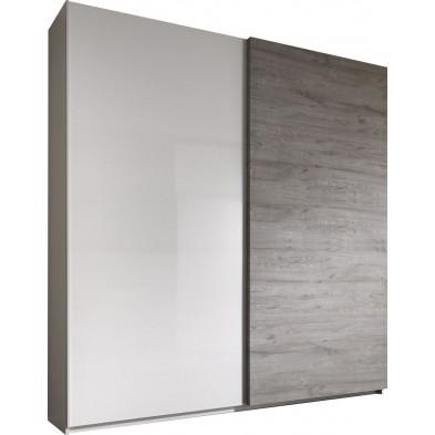 Armoire porte coulissante blanc design L. 240 x P. 53 x H. 210 cm collection Vandenaker