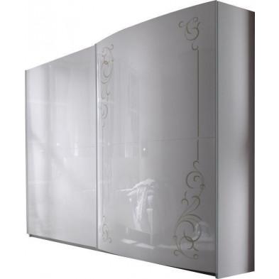 Armoire porte coulissante blanc design L. 240 x P. 58 x H. 210 cm collection Hendrike