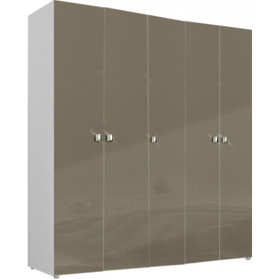 Armoire adulte beige design L. 158 x P. 53 x H. 214 cm collection Abigael
