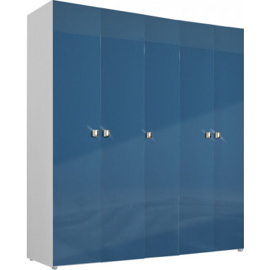 Armoire adulte bleu design L. 158 x P. 53 x H. 214 cm collection Bigley