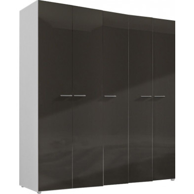 Armoire adulte gris design L. 158 x P. 53 x H. 214 cm collection Regillio