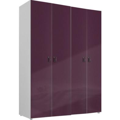 Armoire adulte violet design L. 159 x P. 53 x H. 214 cm collection Ocie
