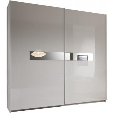 Armoire porte coulissante blanc design L. 240 x P. 58 x H. 241 cm collection Oskar