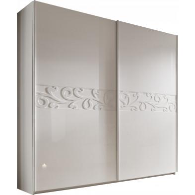 Armoire porte coulissante blanc design L. 280 x P. 54 x H. 240 cm collection Romsee