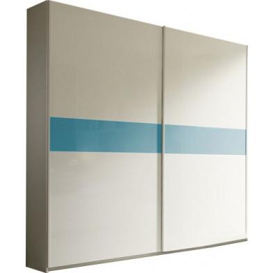 Armoire porte coulissante blanc design L. 240 x P. 54 x H. 240 cm collection Houkes