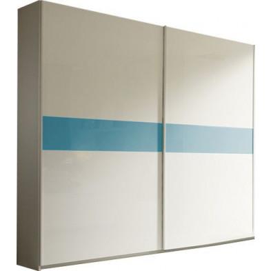 Armoire porte coulissante blanc design L. 280 x P. 59 x H. 240 cm collection Houkes