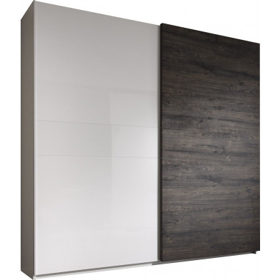 Armoire porte coulissante blanc design L. 280 x P. 53 x H. 240 cm collection Tilligte