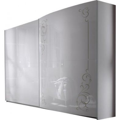 Armoire porte coulissante blanc design L. 240 x P. 58 x H. 240 cm collection Hendrike