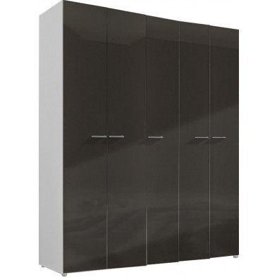 Armoire adulte gris design L. 158 x P. 53 x H. 240 cm collection Regillio