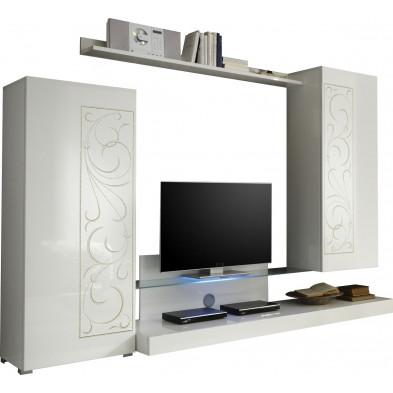Ensemble meuble TV blanc design en panneaux de particules de haute qualité L. 300 x H. 170 cm collection Brennan