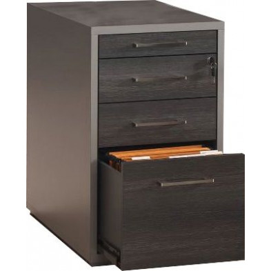 Caisson bureau gris moderne L. 44.5 x P. 80 x H. 75.7 cm collection Herkenbosch