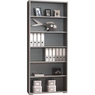 Meuble de rangement gris moderne en panneaux de particules mélaminés de haute qualité L. 90 x P. 45 x H. 219,6 cm collection Therrien