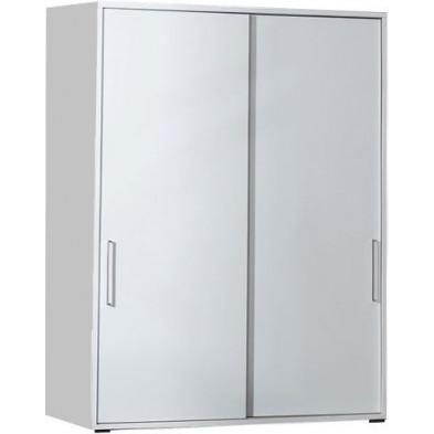 Meuble de rangement blanc design en panneaux de particules mélaminés de haute qualité L. 147,7 x P. 42 x H. 220 cm collection Inscribe