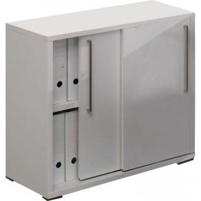Meuble de rangement blanc design en panneaux de particules mélaminés de haute qualité L. 80 x P. 42 x H. 75 cm collection Ryo