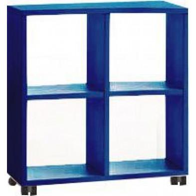 Meuble étagère bleu design en panneaux de particules mélaminés de haute qualité L. 78 x P. 35 x H. 83,2 cm collection Inscribe