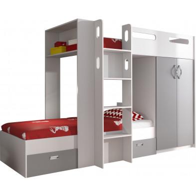 Lit superposé 90x200 cm blanc et gris moderne en bois mdf collection BUBU