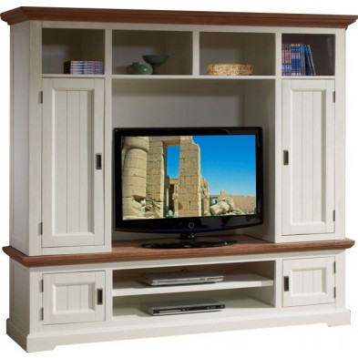 Ensemble meuble tv blanc contemporain en bois massif acacia  L. 202 x P. 53 x H. 182,5 cm collection Invite
